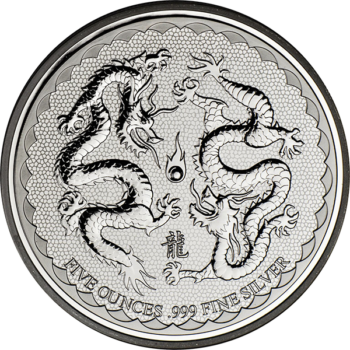 2018 5 OZ NIUE SILVER DOUBLE DRAGON