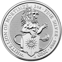2020 2 OZ SILVER QUEENS BEAST WHITE LION OF MORTIMER